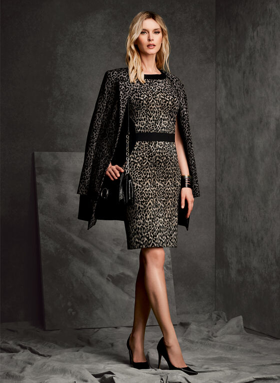 Leopard Print Long Blazer, Black, hi-res