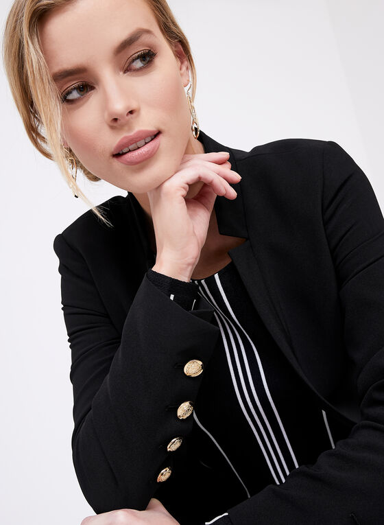 Notch Collar Long Blazer, Black, hi-res