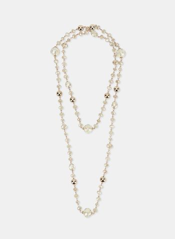 Faceted Bead Necklace, Off White, hi-res