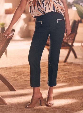 Zipper Detail Capri Pants, Blue,  pants, capri, pull-on, zipper details, pockets, elastic waist, bengaline, spring summer 2020