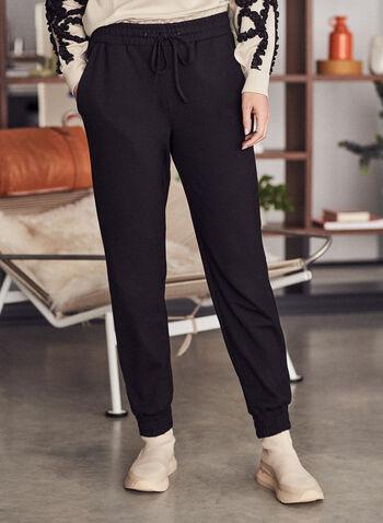 Smocked Detail Jogger Pants, Black,  pants, slim leg, jogger, pull-on, drawstring, smocked, fall winter 2020