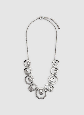 Geometric Metal Necklace, Silver, hi-res,  metal necklace, bib necklace, modern contemporary jewellery