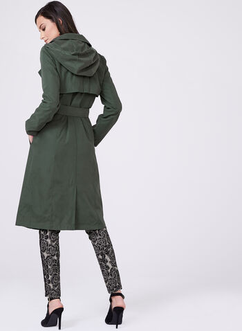Ellen Tracy - Hooded Trench Coat, Green, hi-res