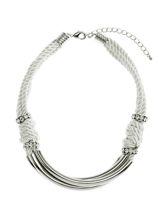 Collier triple corde métal et brillants, Blanc, hi-res