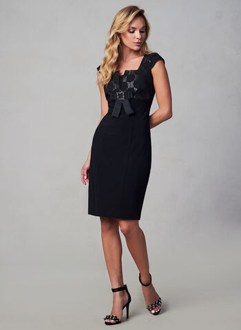 Joseph Ribkoff - Cap Sleeve Sheath Dress, Black, hi-res,  fall winter 2019, cocktail dress, sheath