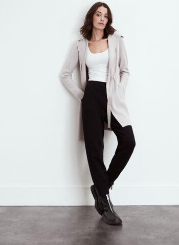 Joseph Ribkoff - Knit Hooded Cardigan, Off White,  fall 2021, sweater, cardigan, long, duster, length, knee, drawstring, fancy, shawl collar, hood, hooded, joseph ribkoff, long sleeves, open front, slant pockets, comfy, knit, fabric