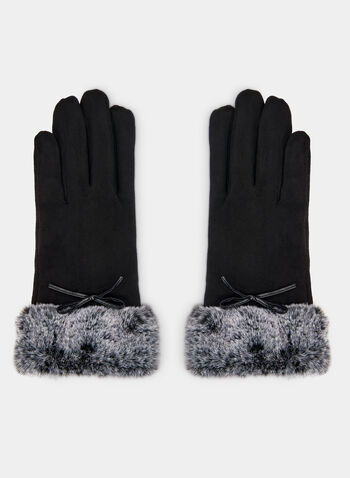 Faux Fur & Faux Suede Gloves, Black, hi-res,  gloves, faux fur, faux suede, faux suede gloves, bow, fall 2019, winter 2019