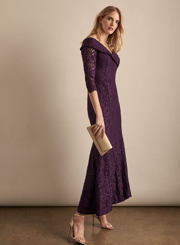 Alex Evenings - Glitter Lace Dress, Purple,  dress, evening, occasion, glitter, lace, mesh, cold shoulder, 3/4 sleeves, spring summer 2020
