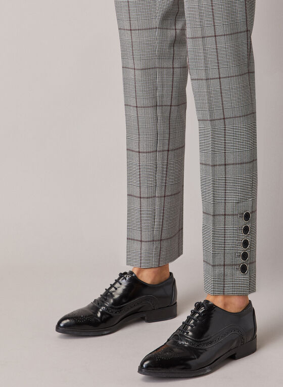 Tartan Print Slim Leg Pants, Black