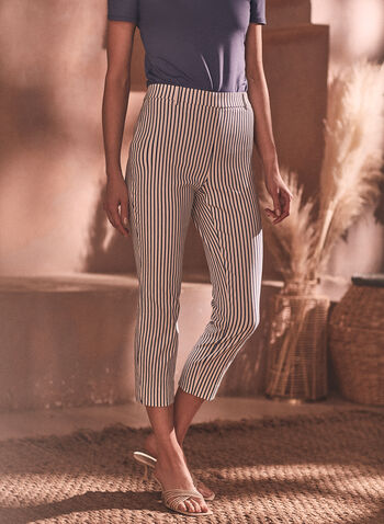 Stripe Print Pull-On Capris, Blue,  capris, stripe print, bengaline, pull-on, spring summer 2021, pull on, Chapter One