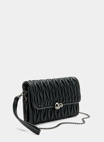 Quilted Flapover Clutch , Black, hi-res