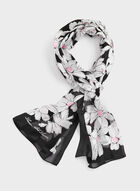 Floral Sketch Print Silk Scarf, Black, hi-res
