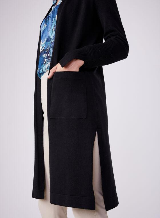 Cardigan long ouvert à manches longues, Noir, hi-res