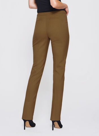 Slim Leg Ankle Pants, Brown, hi-res