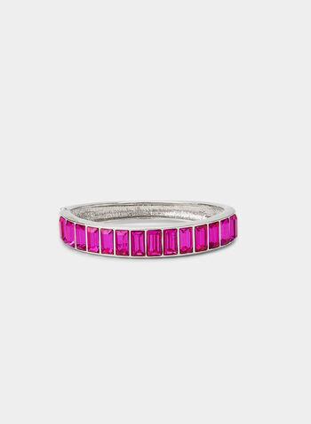 Bracelet à pierres rectangulaires , Rose,  bracelet, pierres rectangulaires, métal, couleur, automne hiver 2019