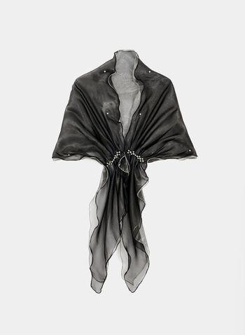 Foulard en organza et détails perles, Noir, hi-res