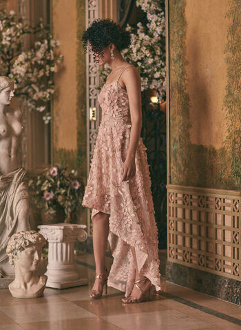BA Nites - High-Low Chiffon Dress , Pink,  high-low dress, chiffon, flower applique, spaghetti straps, jersey, prom, spring 2020