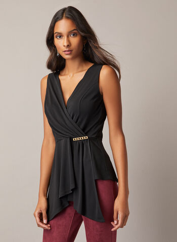 Sleeveless Brooch Detail Top, Black,  top, sleeveless, drape, brooch, jersey, asymmetric, fall winter 2020