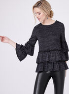 Tiered Bell Sleeve Sweater, Grey, hi-res