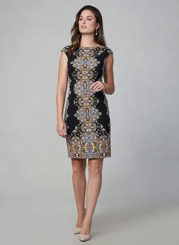 Maggy London - Cap Sleeve Dress, Black,  dress, print dress, day dress, evening dress, ethnic print, jewel print, cap sleeve, short dress, sleeveless, comfortable, winter 2019, fall 2019