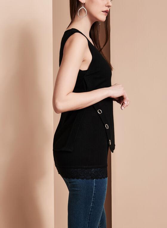 Linea Domani Knit Grommet Top, Black, hi-res