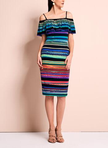 Maggy London Off The Shoulder Stripe Dress, , hi-res