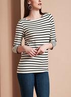 3/4 Sleeve Stripe Print Top , White, hi-res