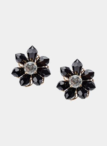 Clous d'oreilles à forme de fleurs, Noir, hi-res