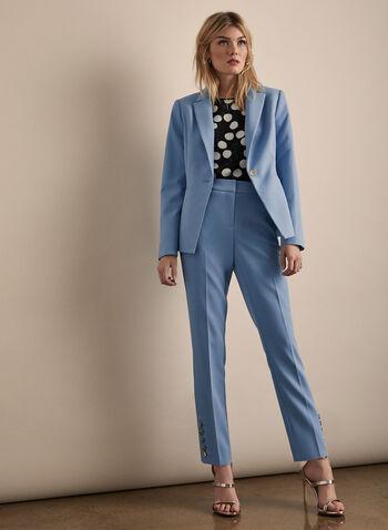 One Button Blazer, Blue,  long sleeves, blazer, suit, collar, jacket, spring 2020, summer 2020