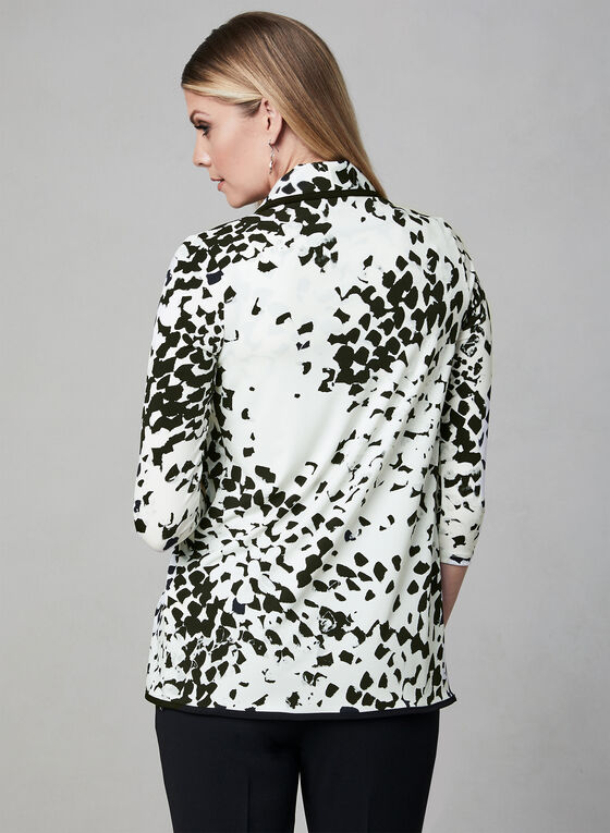 Abstract Print Open Front Top, White, hi-res