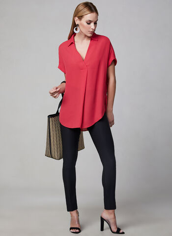 High Low Tunic Blouse, Pink,  short sleeves, pointed collar, V-neck, spring 2019