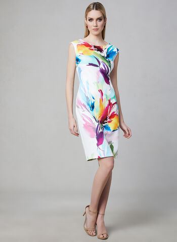 Frank Lyman - Scuba Crepe Dress, White, hi-res