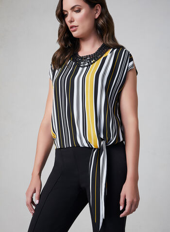 Stripe Print Tie Detail Top, Black, hi-res,  sleeveless, stripes, tie detail, extended sleeves, mesh lining, fall 2019, winter 2019