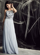 Adrianna Papell - Beaded Detail Tulle Dress , Blue, hi-res