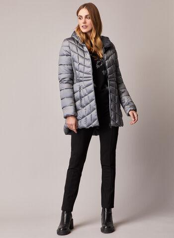 Bernardo - Packable EcoPlume™ Coat, Silver,  fall winter 2020, coat, winter coat, packable, quilted, hood, EcoPlume, fitted, pockets, zip, zipper, Bernardo, down, vegan, holiday