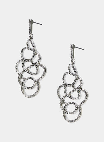 Crystal Swirl Dangle Earrings, Silver, hi-res