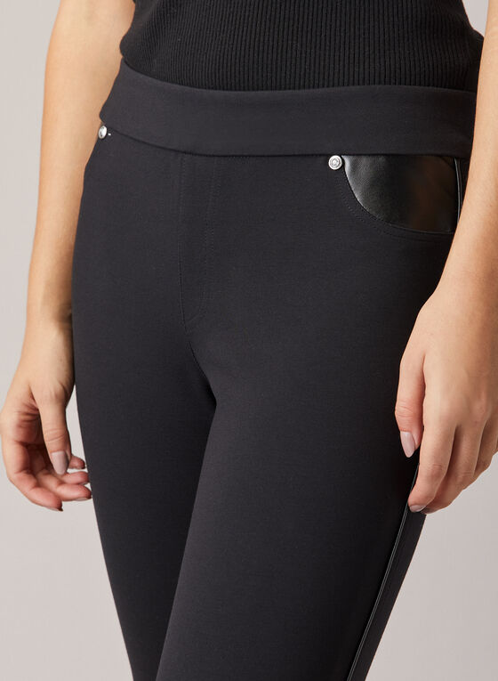 Leggings With Faux Leather Details, Black