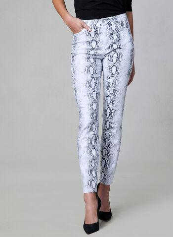 Jean à jambe étroite motif peau de serpent, Blanc, hi-res