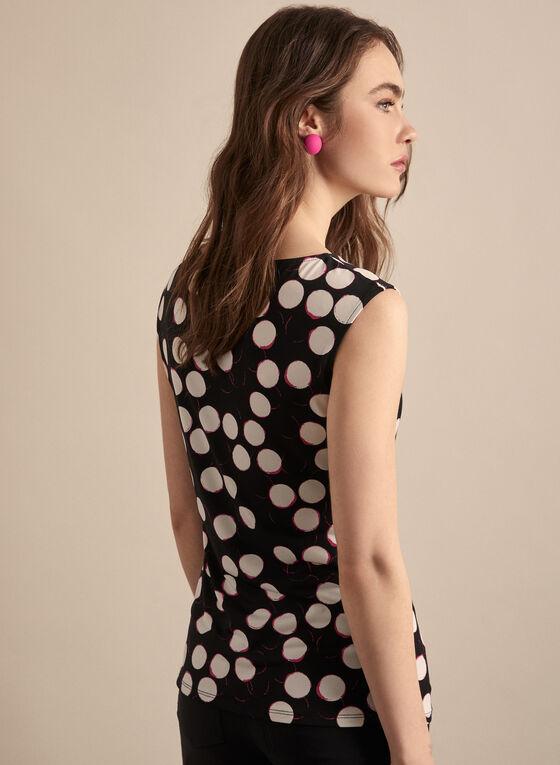 Sleeveless Polka Dot Print Top, Black