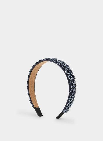 Rhinestone Beaded Headband, Blue,  headband, satin headband, satin, holiday, rhinestone, beads, fall 2019, winter 2019