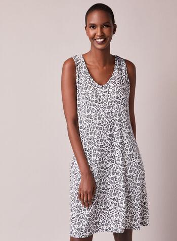Robe & Nightgown Set, Black,  fall winter 2020, sleepwear, loungewear, robe, bath, nightgown, nightshirt, cozy, comfort, stretch, long sleeve, sleeveless, tie closure, floral, v neck, pj, pyjama