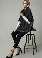 Cowl Neck Knit Poncho, Black, hi-res