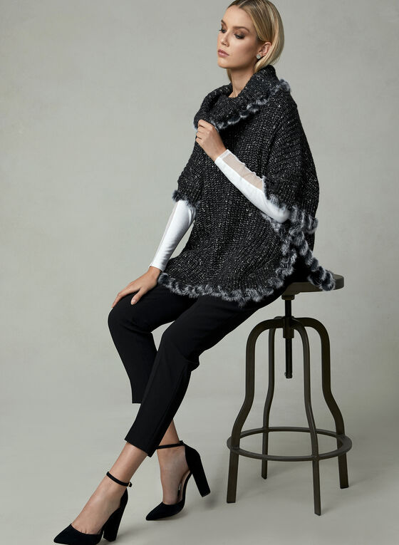 Poncho en tricot à col bénitier , Noir, hi-res