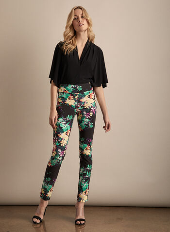 Joseph Ribkoff - Slim Leg Floral Pants, Black,  pants, pull-on, slim leg, floral, high rie, bengaline, pleats, ankle, spring summer 2020