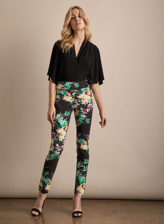 Joseph Ribkoff - Slim Leg Floral Pants, Black