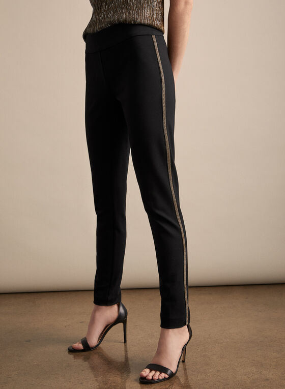 Beaded Slim Leg Pants, Black