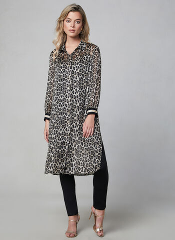 Frank Lyman - Animal Print Duster Blouse, Black, hi-res