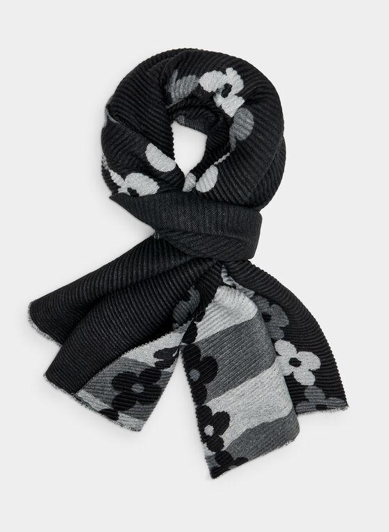 Foulard plissé à bordure fleurie, Gris, hi-res
