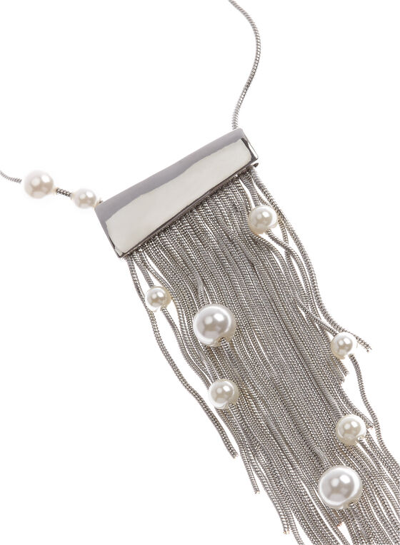 Tassel & Pearl Pendant Necklace , Off White, hi-res