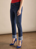 Fringe Detail Capri Pants, Blue
